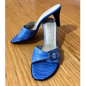 Textured open toe heels